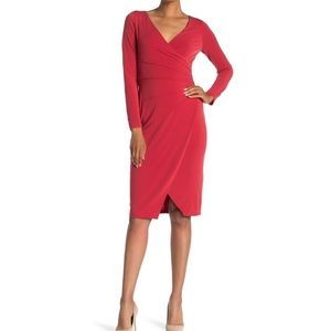 London Times Pintuck Pleated Long Sleeve Dress
